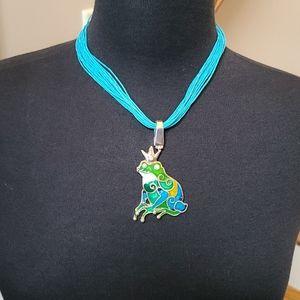 Prince Frog 🐸 Pendant  Green,Teal Blue.
